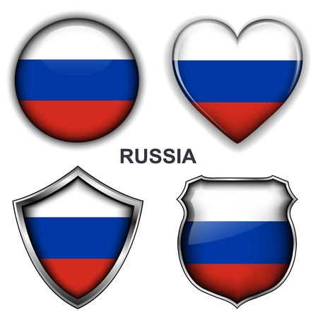 Russia flag icons,  buttons Stock Vector - 20343873