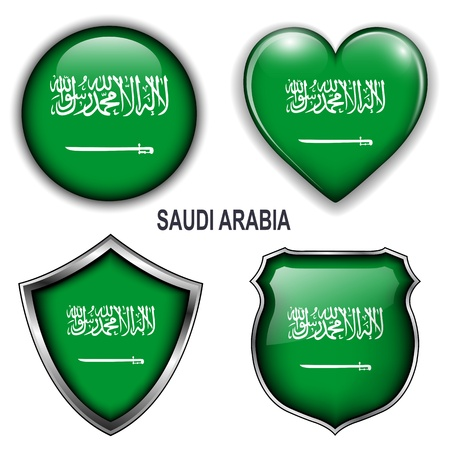 Saudi Arabia flag icons,  buttons  Vector