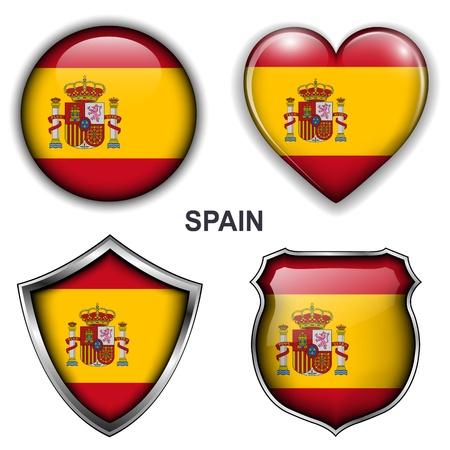 bandiera spagnola: Spagna, spagnolo bandiera icone, pulsanti
