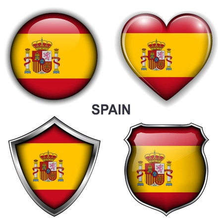 Spain, spanish flag icons,  buttons  Stock Vector - 20344019
