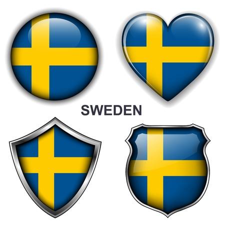 bandera de suecia: �conos, botones Suecia