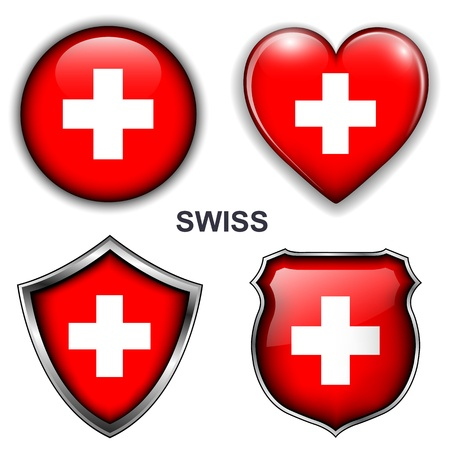 Swiss flag icons, buttons  Vector