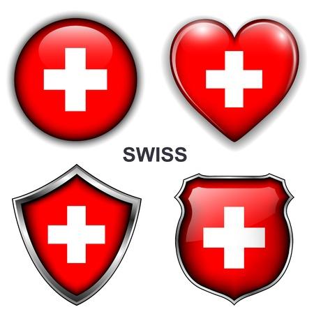 Zwitserse vlag iconen, knoppen