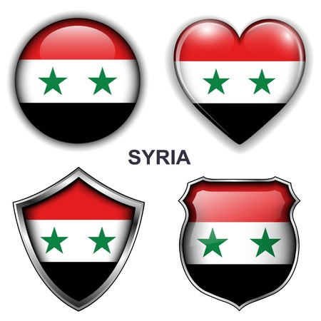 Syria flag icons,  buttons  Stock Vector - 20343869