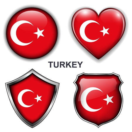 Turkey flag icons,  buttons  Vector