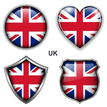 United Kingdom, UK flag icons,  buttons  Ilustrace