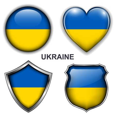 Ukraine flag icons, buttons Stock Vector - 20343907