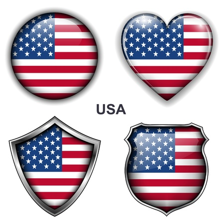 USA, United States flag icons,  buttons  Vector