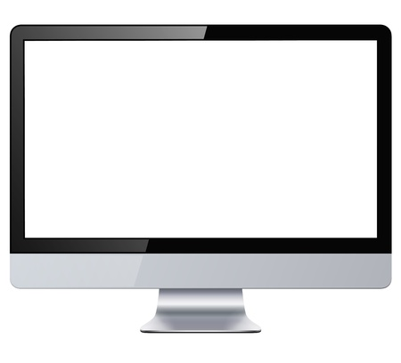 Computer display with blank white screen, isolated. Vector