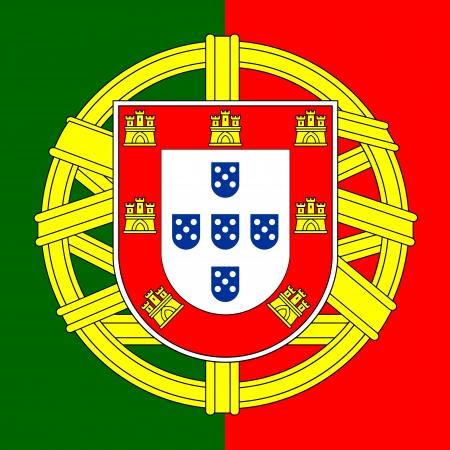 drapeau portugal: Portugal drapeau manteau des bras, bouclier portugais, illustration.