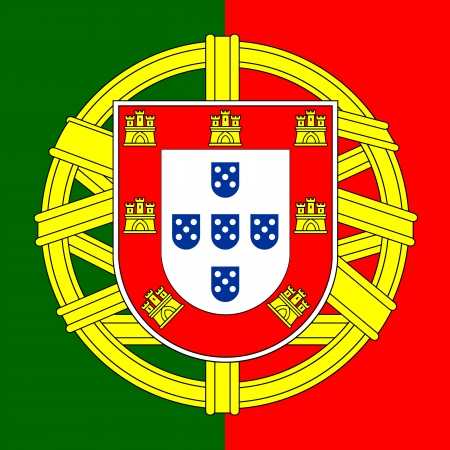 Portugal flag coat of arms, Portuguese shield, illustration.