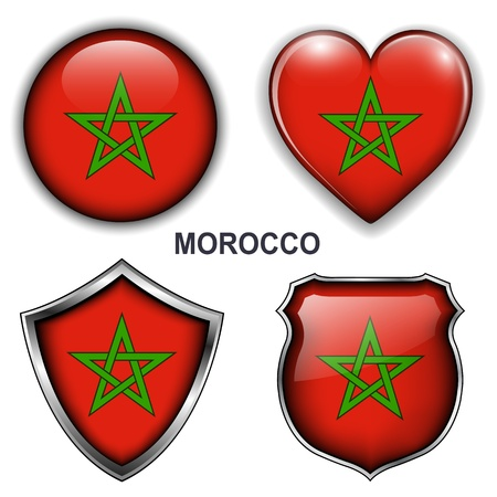 Morocco flag icons, vector buttons  Stock Vector - 20478001