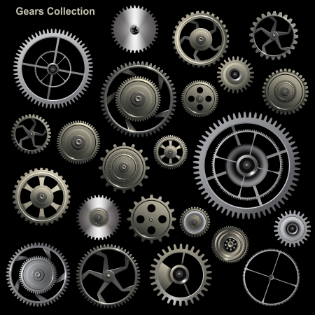 cog gear: Gear collection machine collection of vector cogwheel and gears