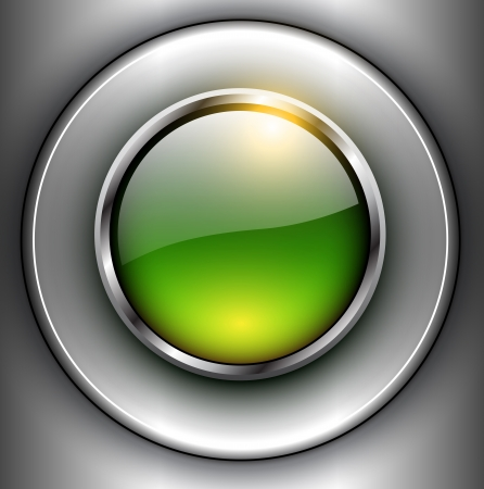 Background with 3D glass button, vector design. Vector