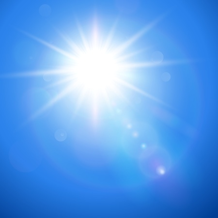 Sun with lens flare, vector background. Stock Vector - 20692680