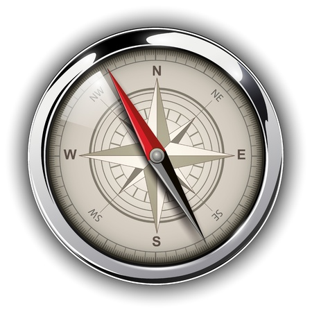 longitude: Compass with windrose. Vector Illustration.