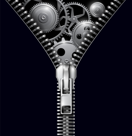 mechanism of progress: Abstract background zipper with gears