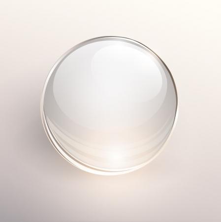 빛 배경에 빈 유리 공.