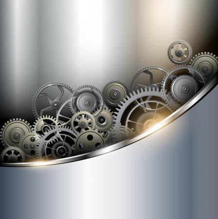 Sfondo metallico con gli ingranaggi della tecnologia, illustrazione vettoriale.