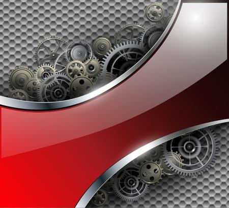 金属歯車と背景を抽象化、ベクトル イラスト。