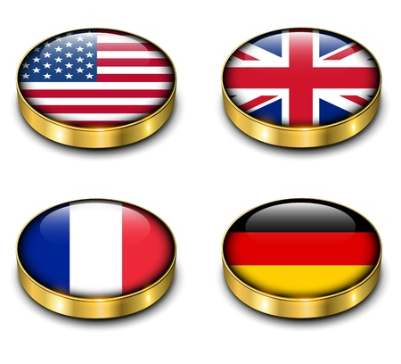 USA, United Kingdom, France; Germany flags 3D buttons vector set. Stock Vector - 21734566