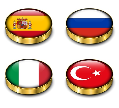 Spain, Russia, Italy, Turkey flags 3D buttons vector set.