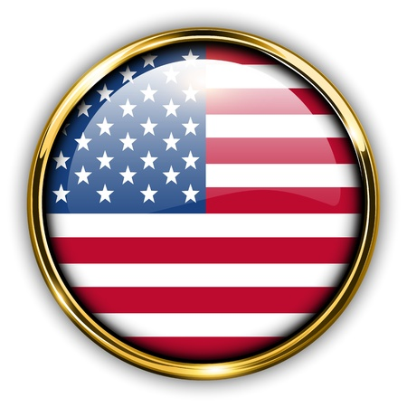 america flag: USA, United States America flag button, vector.