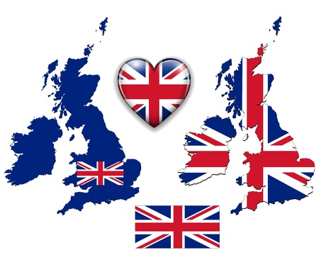United Kingdom, England flag, map and glossy button, vector illustration set. Vector