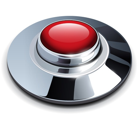download button: Red web button with chrome, metallic elements, vector illustration.
