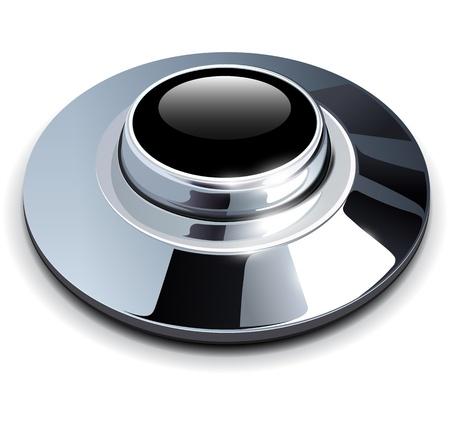 Silver button shiny metallic, vector illustration Stock Vector - 21734585