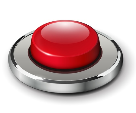 download button: Red shiny button with metallic elements, vector design for website.