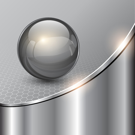 Metallic background with glass sphere, vector 3D illustration.. Ilustração