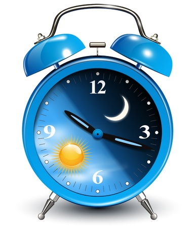 night and day: Alarm clock, vector illustration.