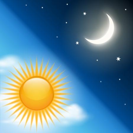 sol y luna: Fondo con el d�a vector tema de la noche.