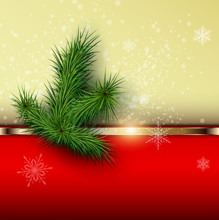 Christmas background with snowflakes and christmas tree, vector Stock Vector - 22017101