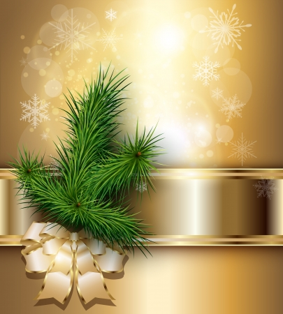 Christmas background with elegant gold banner, christmas tree and a bow