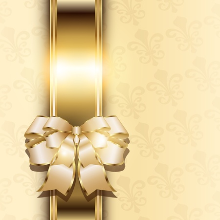 Christmas background with elegant gold banner and a bow, vector Stock Vector - 22017097