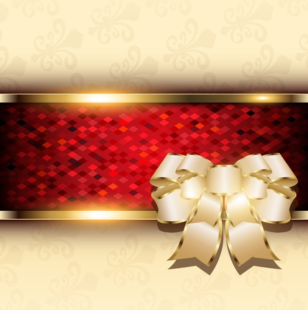 Abstract christmas background with bow and red mosaic banner, vector  Stock Vector - 22017100