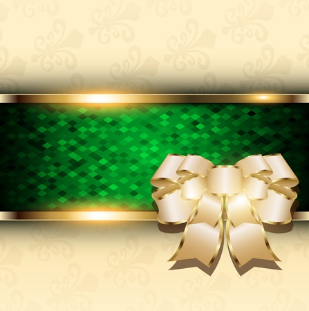 Abstract christmas background with bow and green mosaic banner, vector  Stock Vector - 22017102