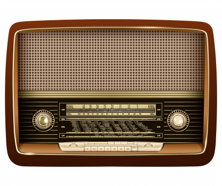 Retro radio, realistic vector illustration. Vector