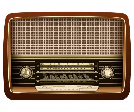 radio frequency: Retro radio, realistic vector illustration.