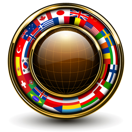 Globe with flags around, 3D vector illustration. Stock Vector - 22426022