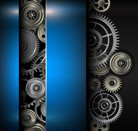 背景金属歯車と歯車技術ベクトル イラスト。