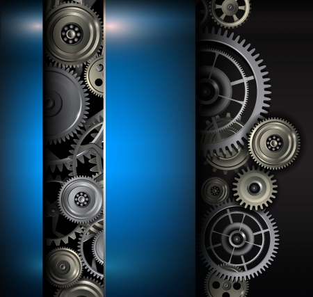 Background metallic gears and cogwheels, technology vector illustration. Vector
