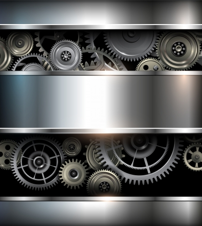 Background metallic with technology gears, vector illustration. Vector