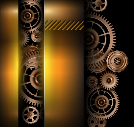 Background metallic technology gears, vector illustration. Vector