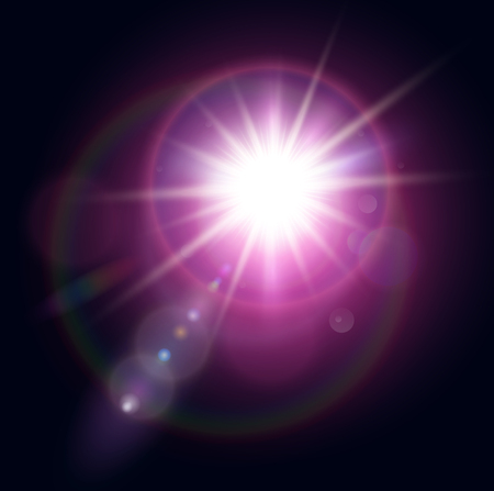 Vector star, sun with lens flare. Vector