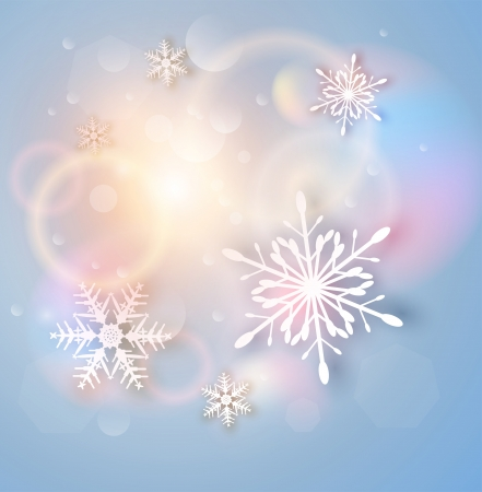 Christmas Background with white snowflakes, abstract  illustration