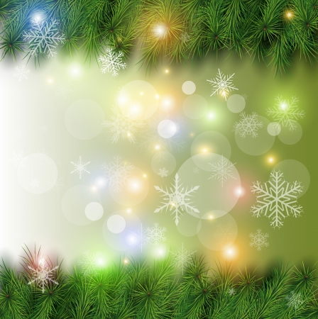 Christmas background, christmas tree, snow and lights. Vector