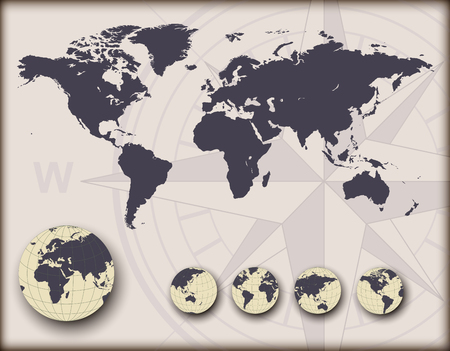 World map with earth globes, editable illustration. Stock Vector - 22765247